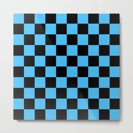 Black and Blue Checkerboard Pattern Metal Print