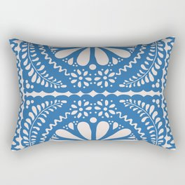 Fiesta de Flores Blue Rectangular Pillow
