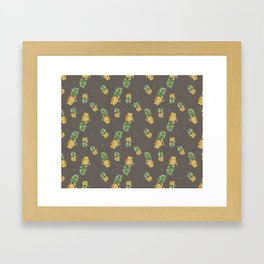 Kaki pineapple pattern Framed Art Print