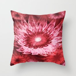 Fantasy Flowers Red Throw Pillow