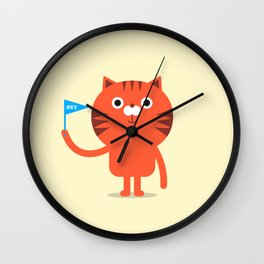 Cat with flag illustration Wall Clock