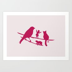 Girl tells a story to her friends Art Print