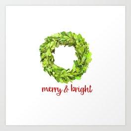 Merry & Bright Christmas Boxwood Wreath Art Print