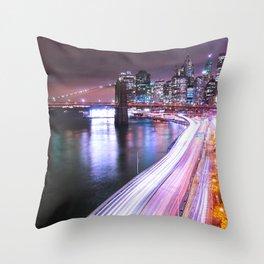 City Lights Highway Throw Pillow