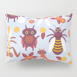 Funny insects Spider butterfly caterpillar dragonfly mantis beetle wasp ladybugs Pillow Sham