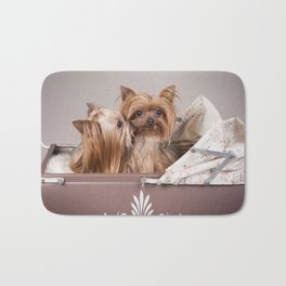 Yorkshire terrier dogs kiss Bath Mat