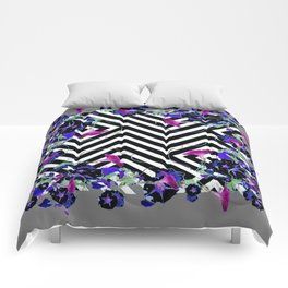 Geometric  black-White Morning Glories Grey Pattern Garden  Art Comforters