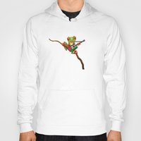 palestine Hoodies featuring Tree Frog Playing Acoustic Guitar with Flag of Palestine by Jeff Bartels