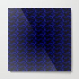 Rectangles of luminous blue rhombuses and black pyramidal triangles. Metal Print