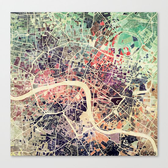 London Mosaic Map #1 Canvas Print