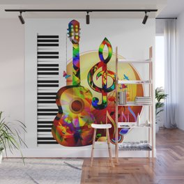 Colorful  music instruments painting, guitar, treble clef, piano, musical notes, flying birds Wall Mural
