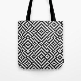 Op art pattern with black white rhombuses Tote Bag