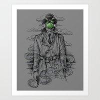 magritte Art Prints featuring Magritte Noir by Peter Kramar