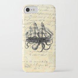 Kraken Octopus Attacking Ship Multi Collage Background iPhone Case