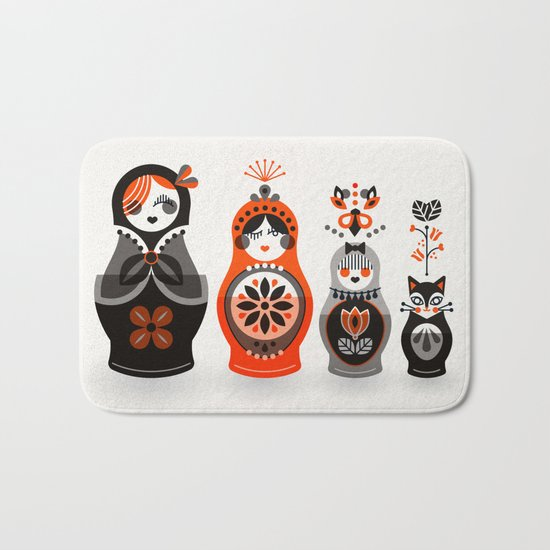 Russian Nesting Dolls – Red & Black Bath Mat