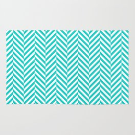 Teal white abstract geometrical chevron Rug
