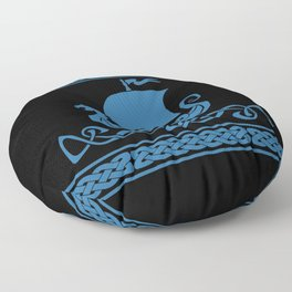 Drgon Boat - Blue Floor Pillow