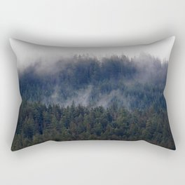 Misty Pine Trees Pacific Northwest Rectangular Pillow