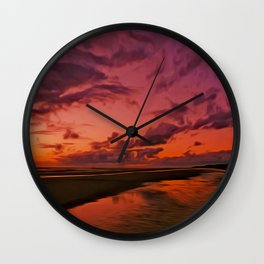 The Beach at sunset Wall Clock