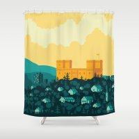 golden Shower Curtains featuring Golden castle by Roland Banrevi