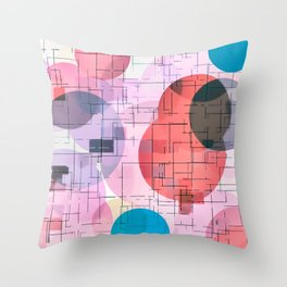 geometric square and circle pattern abstract in red pink blue Throw Pillow