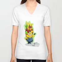 minion V-neck T-shirts featuring Minion by Siney