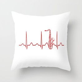 SAXOPHONE HEARTBEAT Throw Pillow