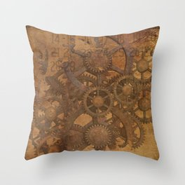 Vintage Gears Pattern (Color) Throw Pillow