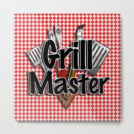 Grill Master with BBQ Tools Metal Print