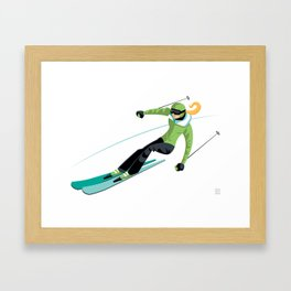 Ski Girl Slalom Framed Art Print