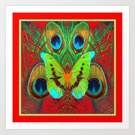 BEAUTIFUL GREEN BUTTERFLY & PEACOCK FEATHERS RED ART Art Print