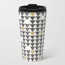 Geometric Triangle Charcoal Gold And White Pattern Travel Mug