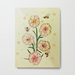 Cosmo Flowers with Bees Metal Print