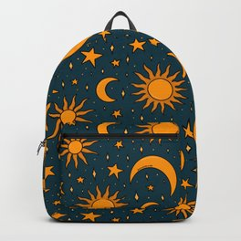 Vintage Sun and Star Print in Navy Backpack