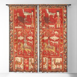 Kuba Hunting Rug With Birds Horses Camels Print Blackout Curtain