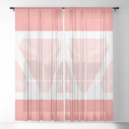 Crystal Vibration - Living Coral Abstract Sheer Curtain