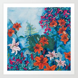Blue Jungle of Orange Lily and Pink Trumpet Vine Floral Art Print