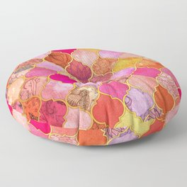 Hot Pink, Gold, Tangerine & Taupe Decorative Moroccan Tile Pattern Floor Pillow