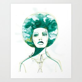 Green Afro Queen Art Print