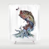 bass Shower Curtains featuring Bass Fish by Kristen Williams