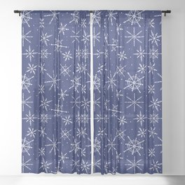 Nordic Snow (Blizzard) - Navy Sheer Curtain