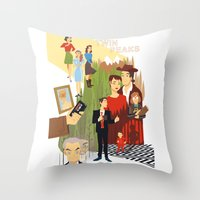 twin peaks Throw Pillows featuring Twin Peaks by Collectif PinUp!
