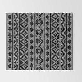Aztec Essence Ptn III Black on Grey Throw Blanket