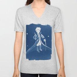 Little Prince Cyanotype Unisex V-Neck