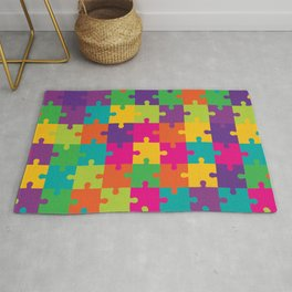 Colorful Jigsaw Puzzle Pattern Rug