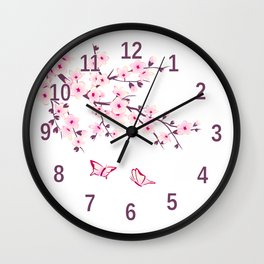 Cherry Blossom Pink White Wall Clock