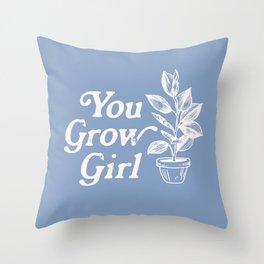 You Grow Girl Blue & Cream Throw Pillow