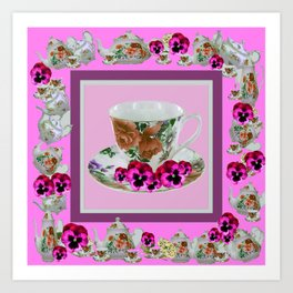 CERISE PANSY FLOWERS ANTIQUE TEA POTS & CUPS Art Print