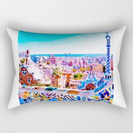 Park Guell Watercolor painting Rectangular Pillow