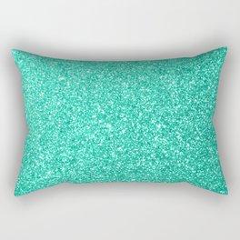 Aquamarine Aqua Blue Sparkly Glitter Rectangular Pillow